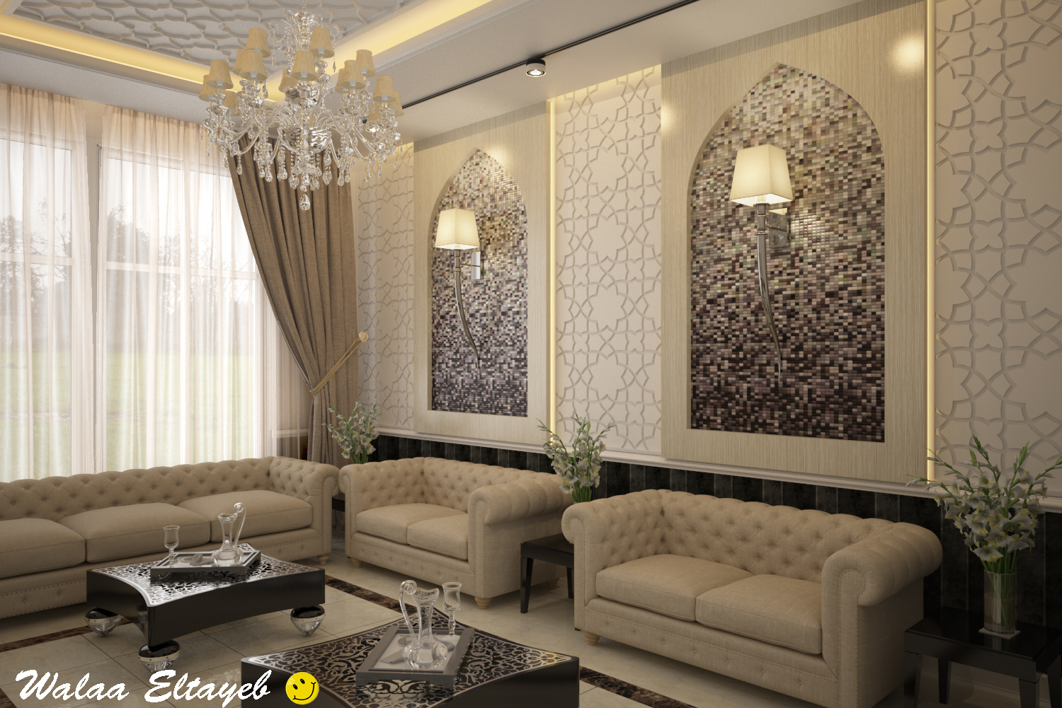 Salon interance hall walaadesigns for Interior designs videos