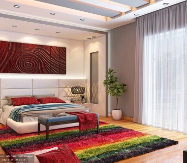 Idea book | user designs-Interior design-white and red modern master bed room