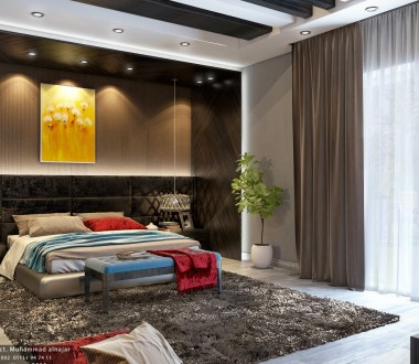 Idea book | user designs-Interior design-dark brown wood modern master bed room